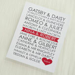 Personalised Literary Couples Valentine's Day Print additional 2