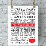 Personalised Literary Couples Valentine's Day Print additional 1