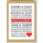 Personalised Literary Couples Valentine's Day Card additional 1