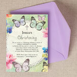 Butterfly Garden Christening / Baptism Invitation additional 3