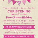 Vintage Pink Bunting Christening / Baptism Invitation additional 3