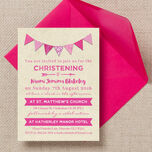 Vintage Pink Bunting Christening / Baptism Invitation additional 1