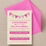 Vintage Pink Bunting Christening / Baptism Invitation additional 2