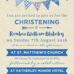 Vintage Blue Bunting Christening / Baptism Invitation additional 3