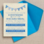 Vintage Blue Bunting Christening / Baptism Invitation additional 2