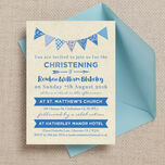 Vintage Blue Bunting Christening / Baptism Invitation additional 1