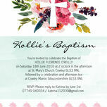 Watercolour Floral Christening / Baptism Invitation additional 4