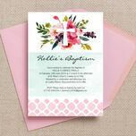 Watercolour Floral Christening / Baptism Invitation additional 1
