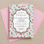 Vintage Rose Christening / Baptism Invitation additional 1