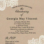 Rustic Kraft & Vintage Lace Christening / Baptism Invitation additional 3