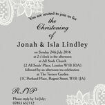 Grey & White Vintage Lace Christening / Baptism Invitation additional 3