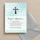 Watercolour Geometric Personalised Christening / Baptism Invitation additional 1