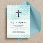 Watercolour Geometric Personalised Christening / Baptism Invitation additional 2