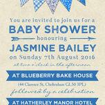 Vintage Blue Bunting Baby Shower Invitation additional 3