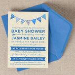 Vintage Blue Bunting Baby Shower Invitation additional 2