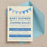 Vintage Blue Bunting Baby Shower Invitation additional 1