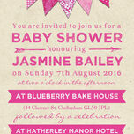Vintage Pink Bunting Baby Shower Invitation additional 3