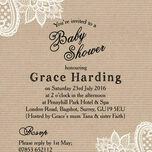 Rustic Kraft & Vintage Lace Baby Shower Invitation additional 3
