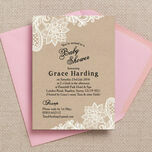 Rustic Kraft & Vintage Lace Baby Shower Invitation additional 2