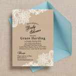 Rustic Kraft & Vintage Lace Baby Shower Invitation additional 1