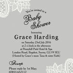 Grey & White Vintage Lace Baby Shower Invitation additional 3