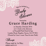 Pink & White Vintage Lace Baby Shower Invitation additional 3