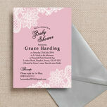 Pink & White Vintage Lace Baby Shower Invitation additional 2