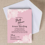 Pink & White Vintage Lace Baby Shower Invitation additional 1