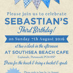 Vintage Blue Bunting Party Invitation additional 3