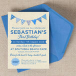 Vintage Blue Bunting Party Invitation additional 1