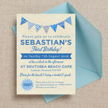 Vintage Blue Bunting Party Invitation additional 2