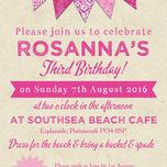 Vintage Pink Bunting Party Invitation additional 3