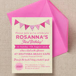 Vintage Pink Bunting Party Invitation additional 2