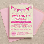 Vintage Pink Bunting Party Invitation additional 1