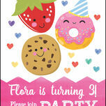 Cute Kawaii Donut, Cookie & Strawberry Party Invitation additional 4