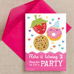 Cute Kawaii Donut, Cookie & Strawberry Party Invitation additional 1