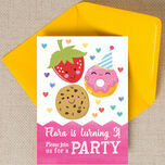Cute Kawaii Donut, Cookie & Strawberry Party Invitation additional 2