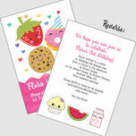 Cute Kawaii Donut, Cookie & Strawberry Party Invitation additional 3