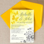 Yellow & Grey Watercolour Floral Wedding Invitation additional 2