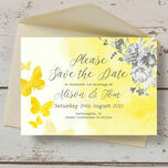 Yellow & Grey Watercolour Floral Save the Date additional 3