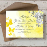 Yellow & Grey Watercolour Floral Save the Date additional 2