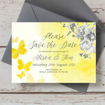 Yellow & Grey Watercolour Floral Save the Date additional 1