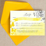 Yellow & Grey Watercolour Floral RSVP additional 3