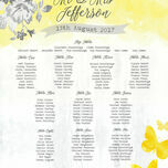 Yellow & Grey Watercolour Floral Wedding Seating Plan additional 2
