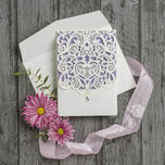 Diamante Laser Cut Pocketfold Personalised Wedding Invitation additional 5