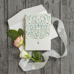 Diamante Laser Cut Pocketfold Personalised Wedding Invitation additional 8