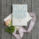 Diamante Laser Cut Pocketfold Personalised Wedding Invitation additional 13