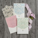 Diamante Laser Cut Pocketfold Personalised Wedding Invitation additional 1
