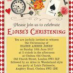Alice in Wonderland Christening / Baptism Invitation additional 2