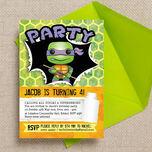 Turtle Superhero Birthday Party Invitation additional 3